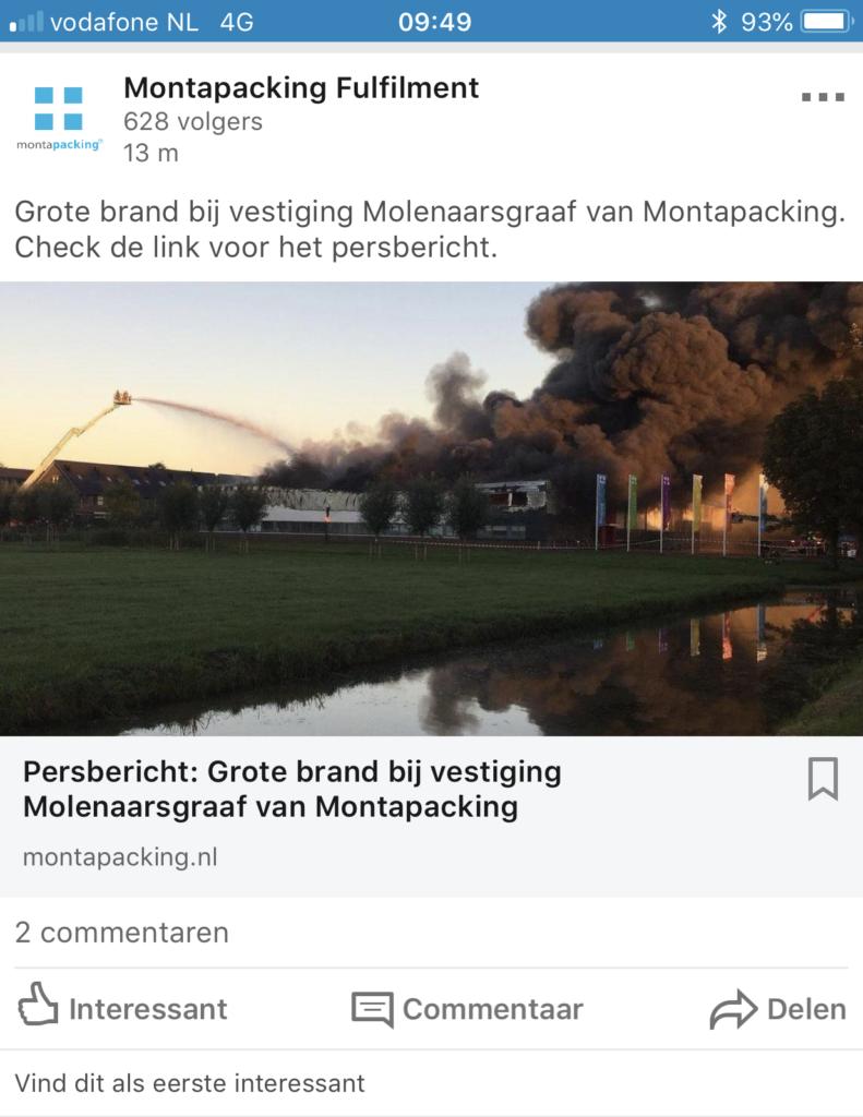 Brand Montapacking Molenaarsgraaf